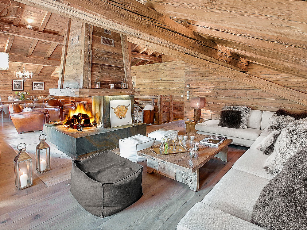 Décoration chalet à louer vacances luxe ski megeve cordon balcon du Mont-Blanc Haute-Savoie Alpes du Nord