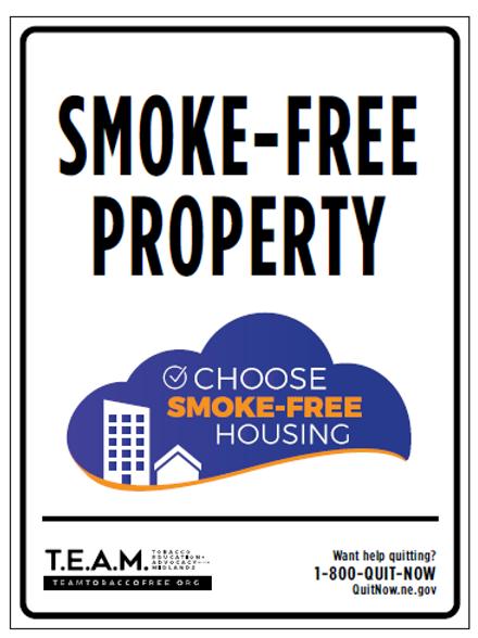 12 x 9 Smoke Free Housing Metal Sign