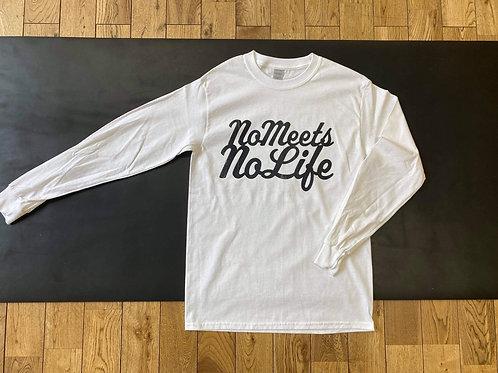 M size】NO MEETS NO LIFE ロングスリーブT /WHTxBLK