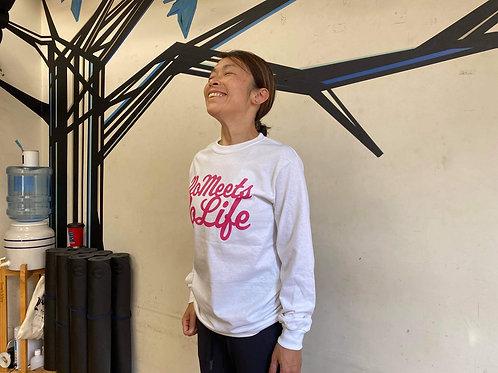 M size】NO MEETS NO LIFE ロングスリーブT /WHTxPNK