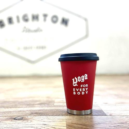 (赤) thermo mug x YOGA FOR EVERY BODYロゴMUG