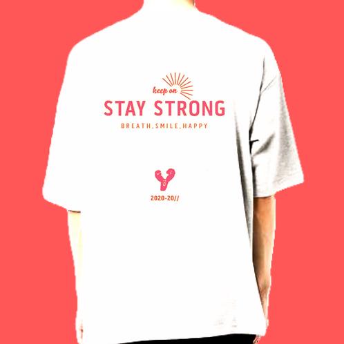 ロゴ ピンク/Lサイズ)STAY STRONG ビッグシルエットt-shirts