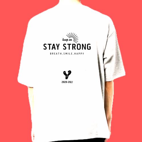 ロゴ黒/Sサイズ)STAY STRONG ビッグシルエットt-shirts