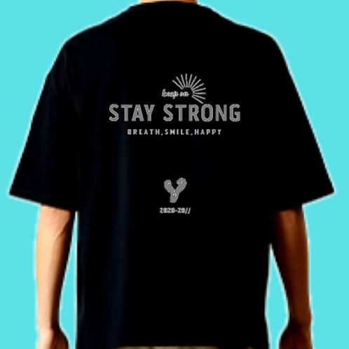 ロゴ白/Lサイズ)STAY STRONG ビッグシルエットt-shirts