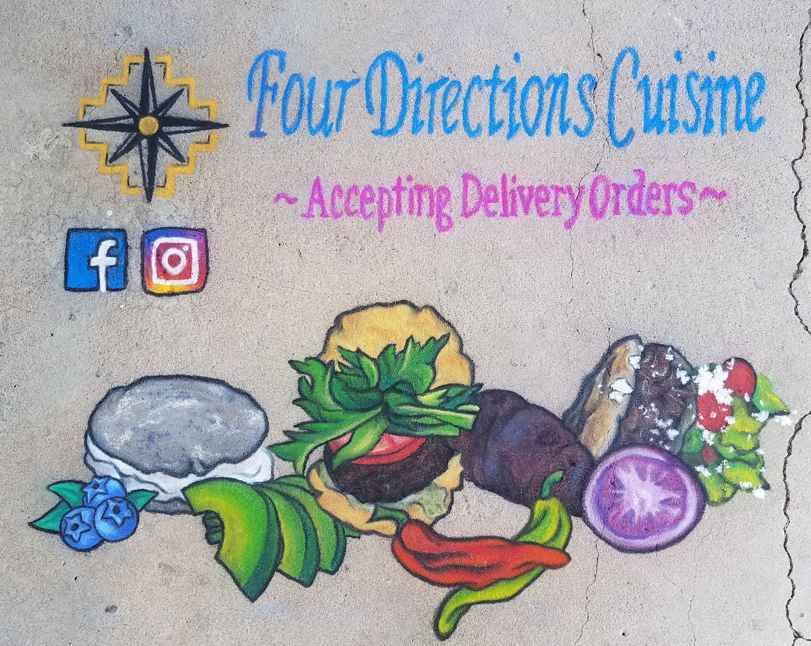 Four Directions Cuisine Chalk Promo