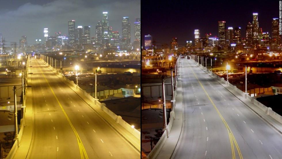 Iluminação das ruas de Los Angeles. Fonte: CNN