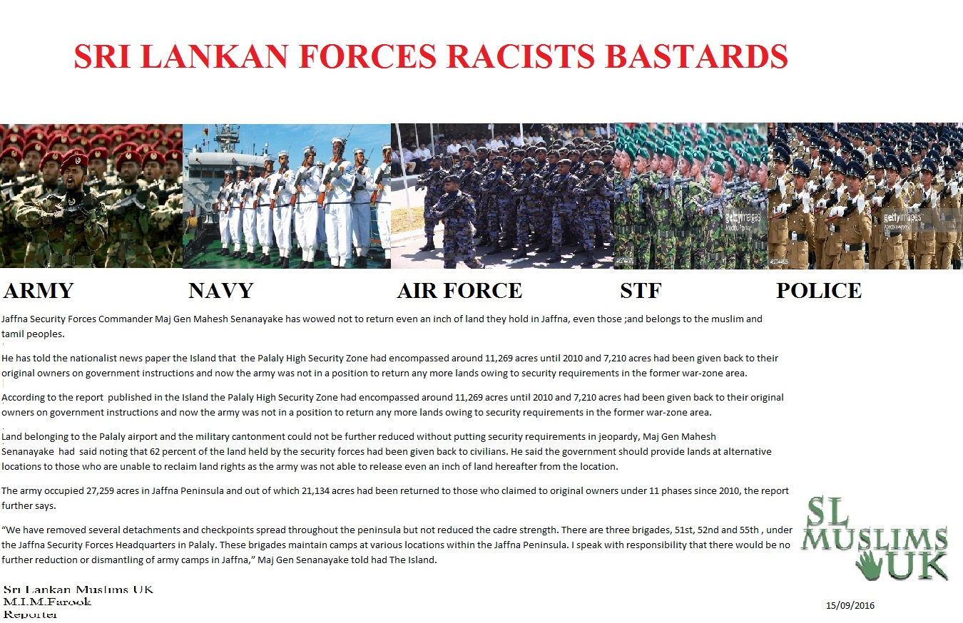 Sri Lankan Forces Racists Bastards