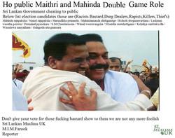 Maithri and Mahinda Double Game Role