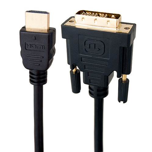 HDMI Male to DVI-D Adapter Cable with Gold-plated Connector, Black