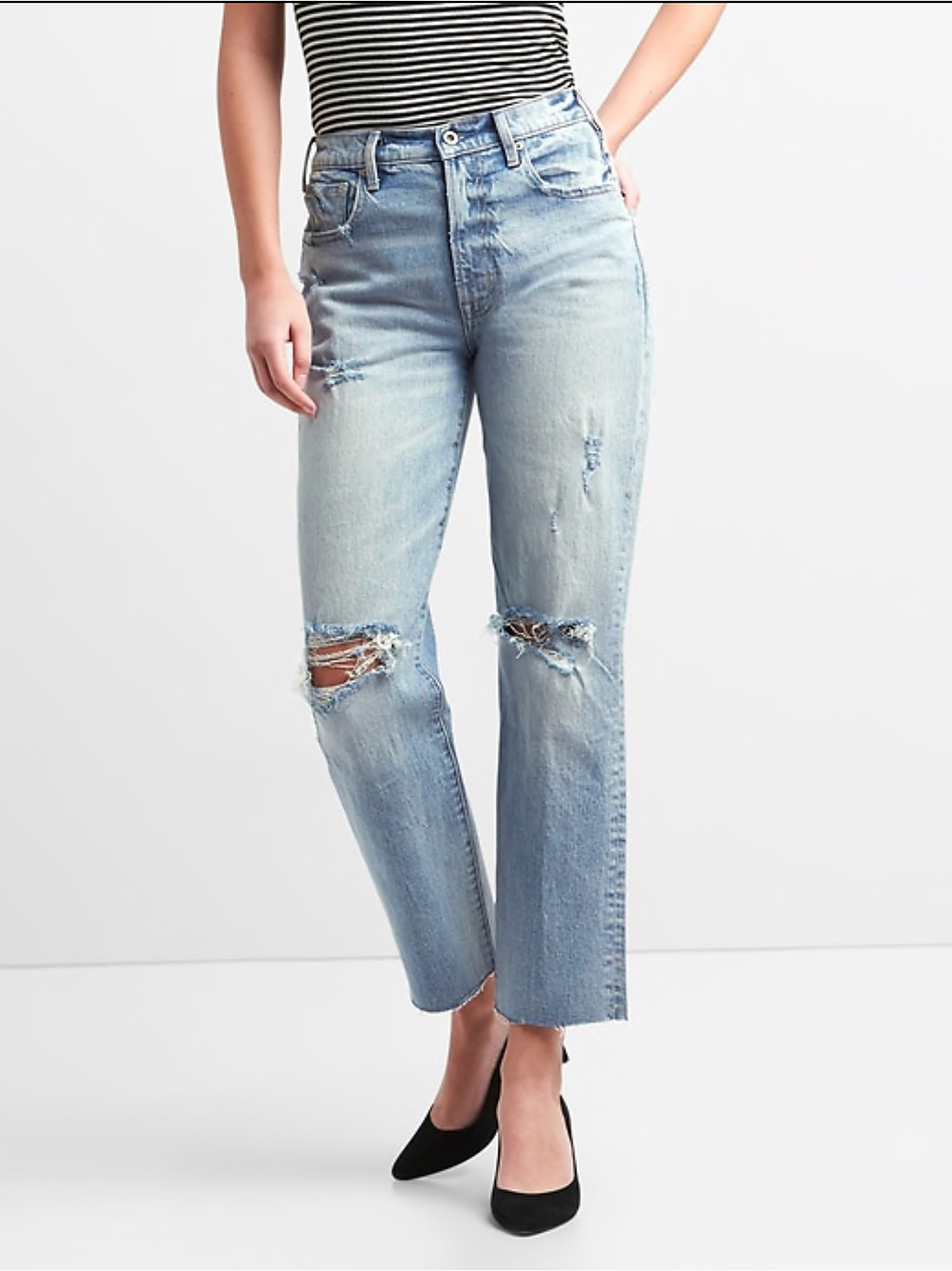 Cone Denim High-Rise Wide Straight Jeans with Destruction: Gap