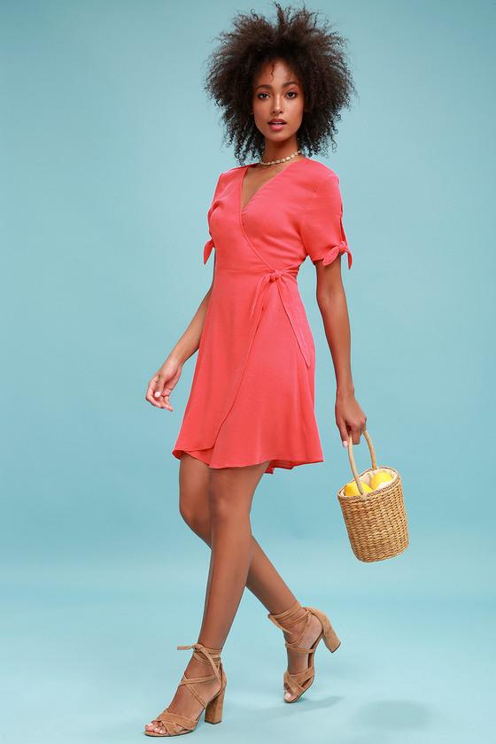Coral Pink Wrap Dress - $32