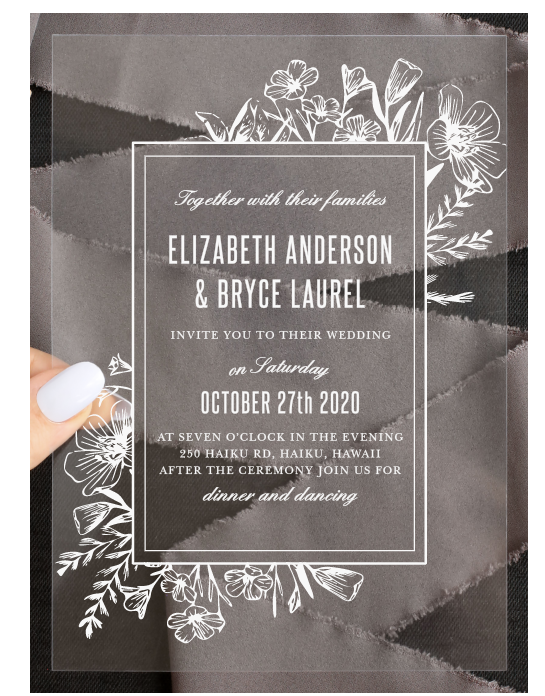 Basic Invite Floral Border Clear Wedding Invite