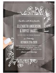 Basic Invite Floral Border Clear Wedding Invite