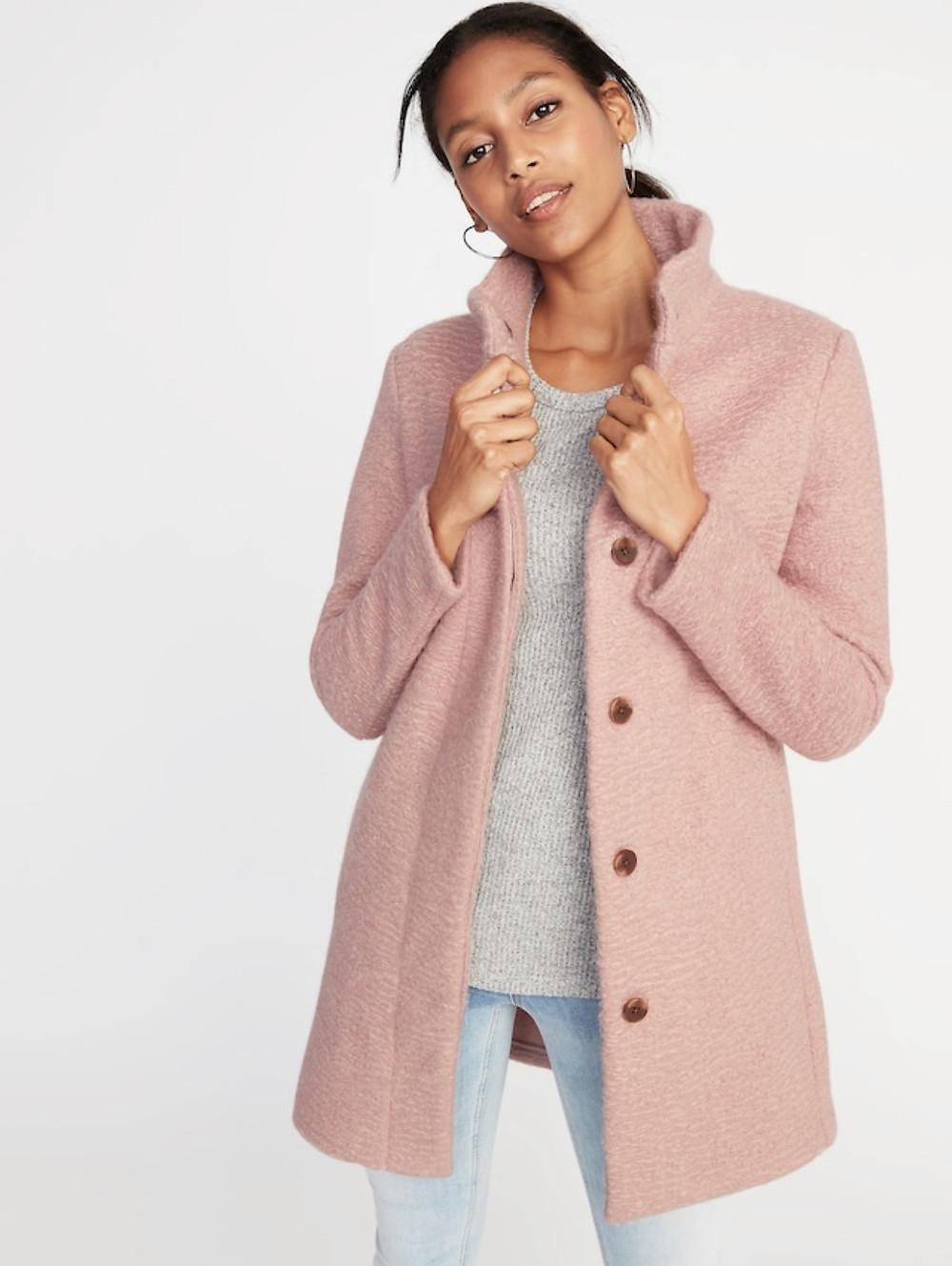 Mock Neck Boucle Coat