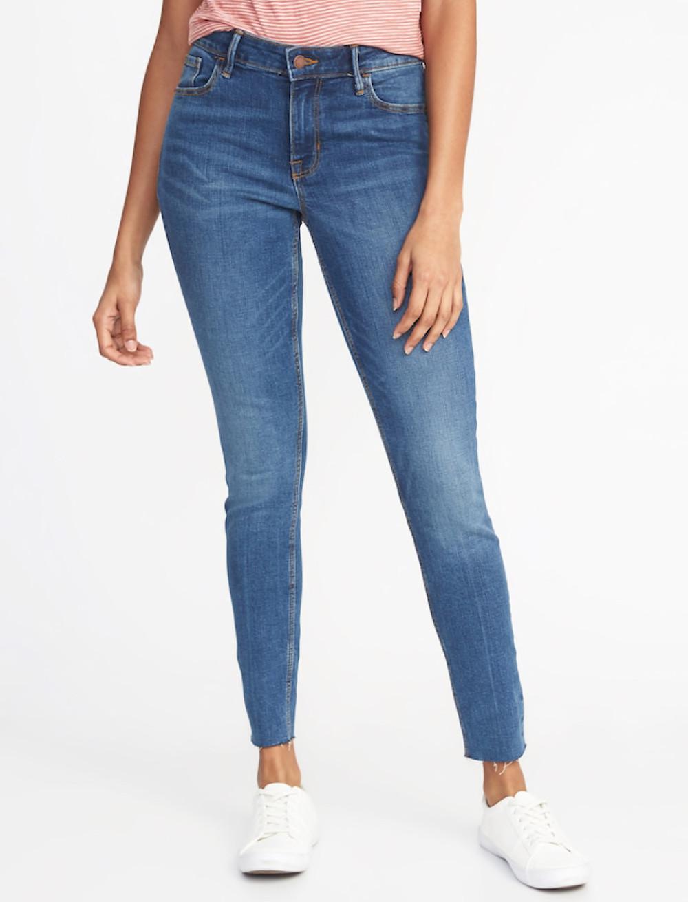 Mid-Rise Raw Edge Ankle Length Rockstar Jeans