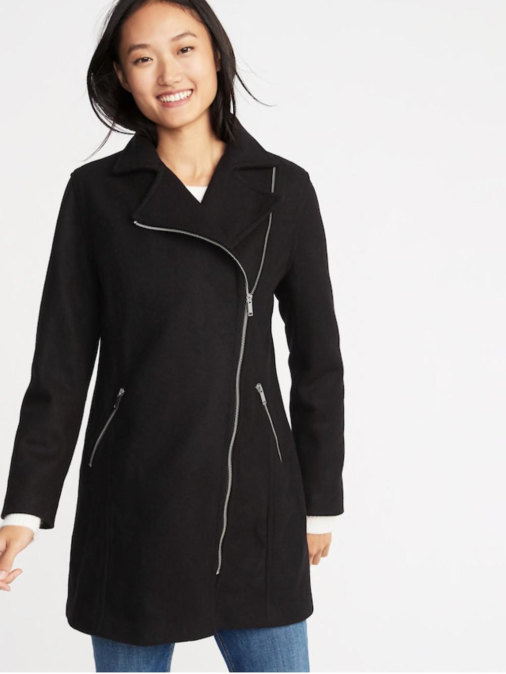 Soft Brushed Longline Moto Coat for Women