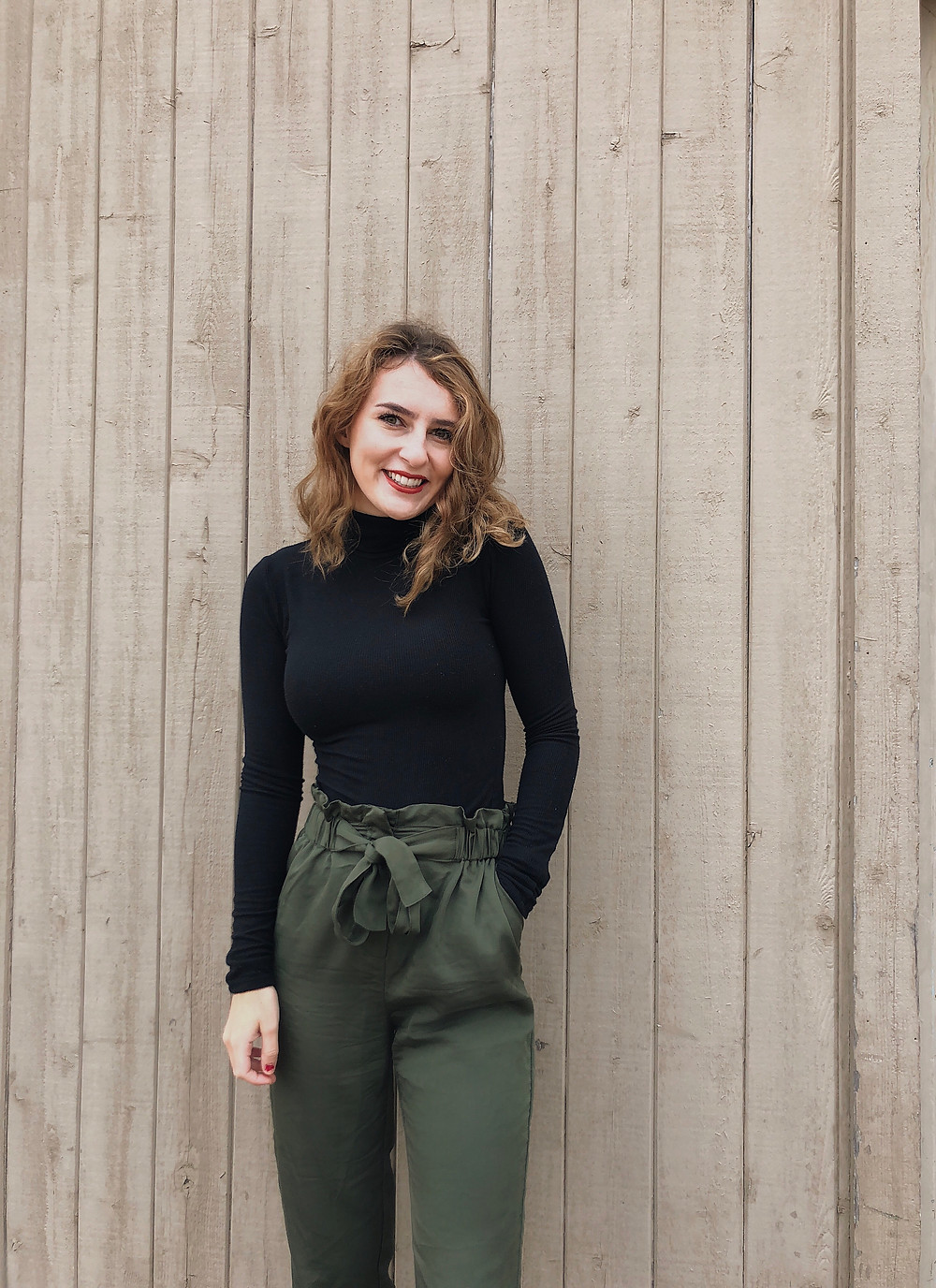 Black Fitted Turtle Neck with Olive Green Tie-Waist Pants