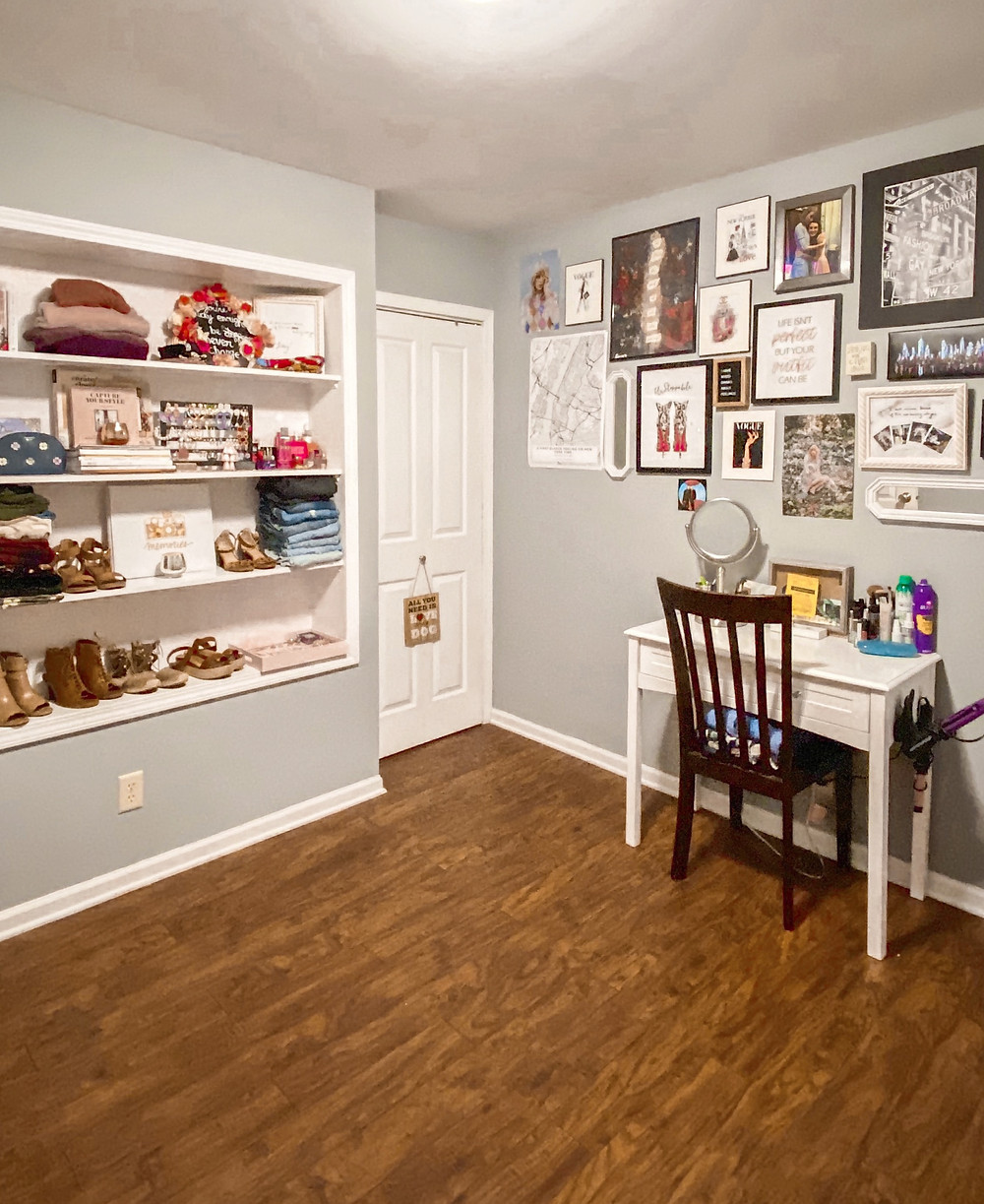 The Bleached Curl closet, gallery wall