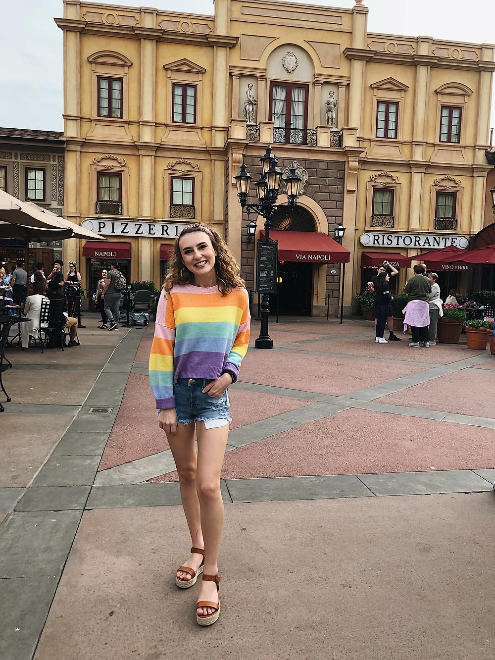 Abby Graf, striped rainbow sweater epcot
