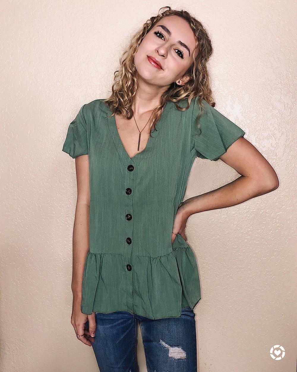 green buton down blouse, abby graf, shein