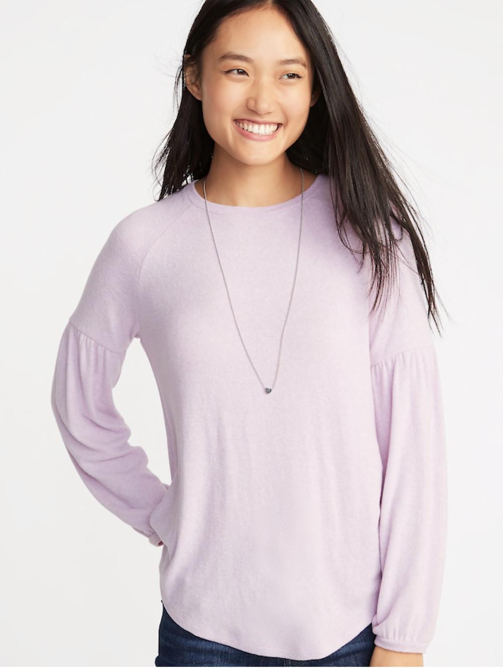 Plush Knit Balloon Sleeve Top for Women