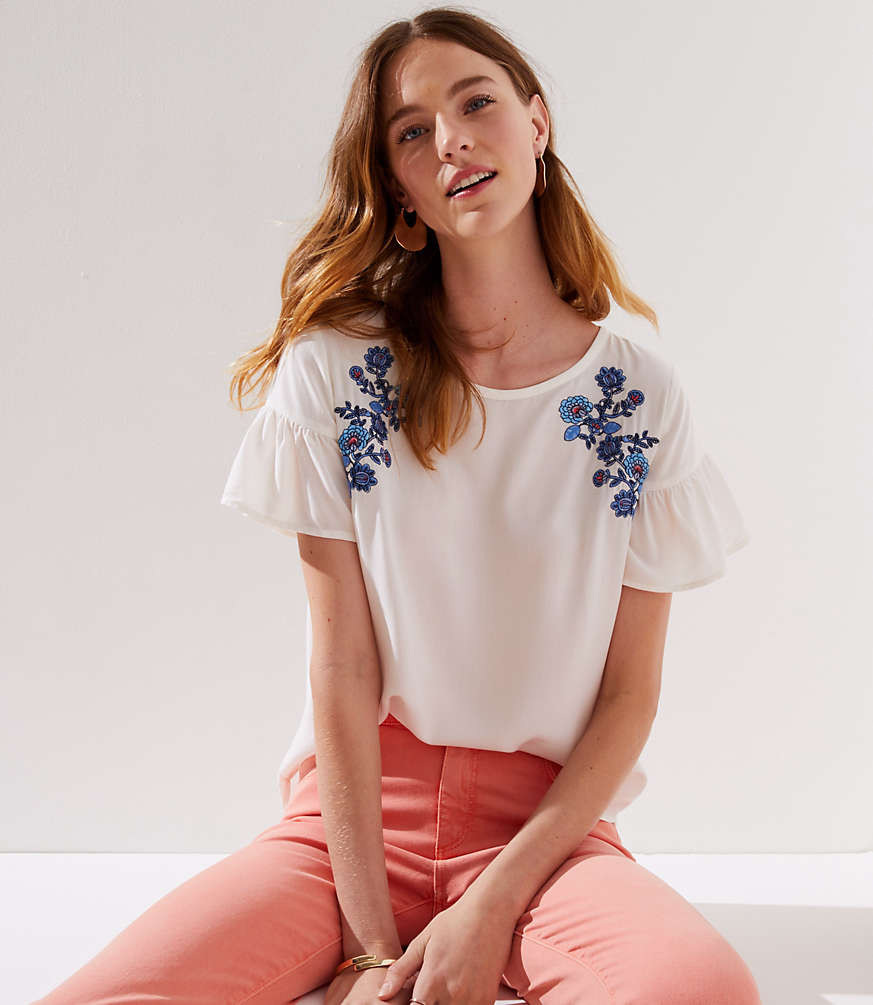 Floral Embroidered Ruffle Cuff Top