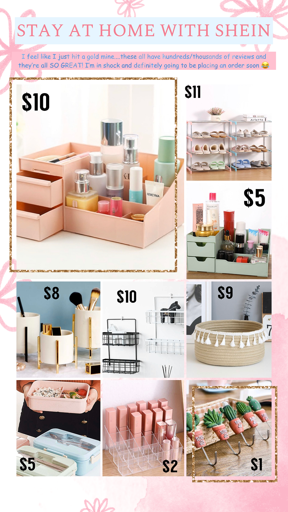 Home decor, organization, and shoe racks from Shein