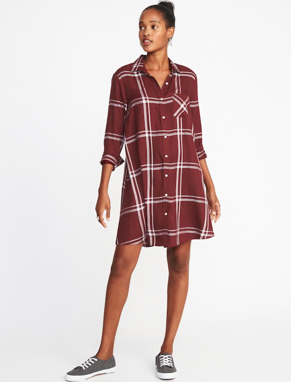 Plaid Swing Shirt Dress