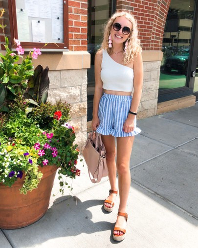 striped ruffle shorts, shein, the bleached curl