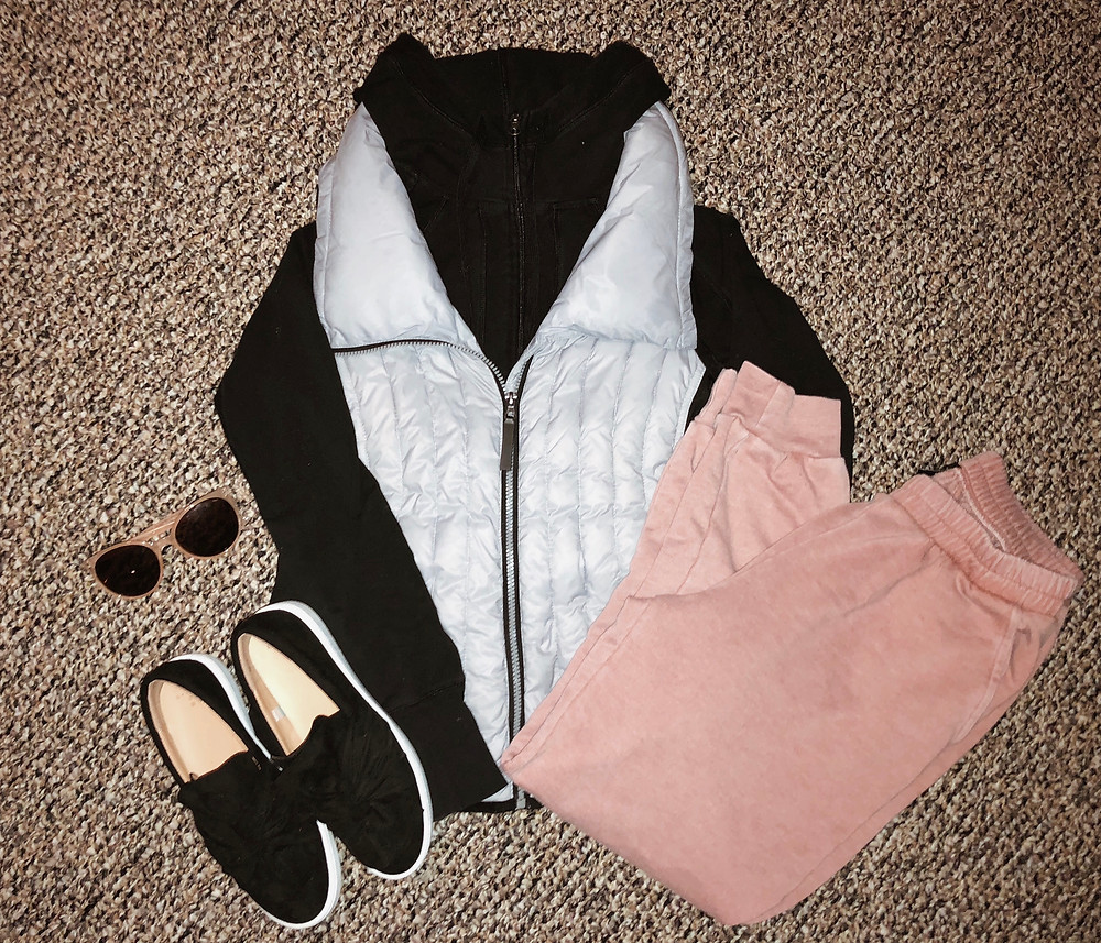 Calvin Klein vest with mauve joggers and a sweatshirt