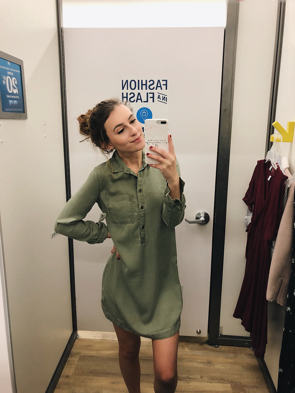 Button down olive green dress from Old Navy
