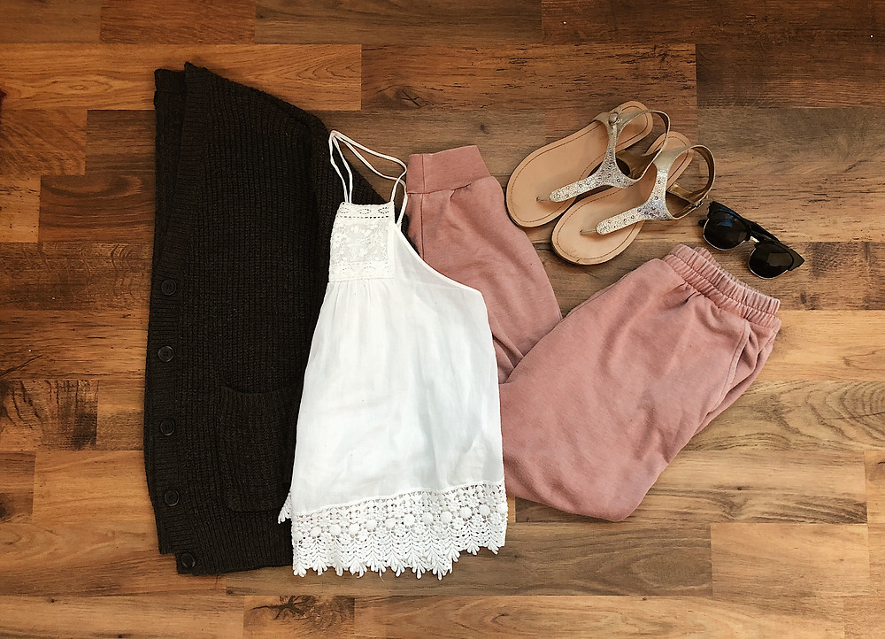 white crochet hem tank top with pink joggers, sandals and a grey cardigan