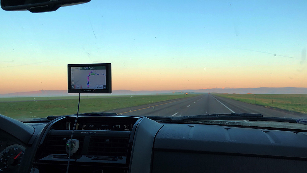 sunrise in the rocky mountains; road trip