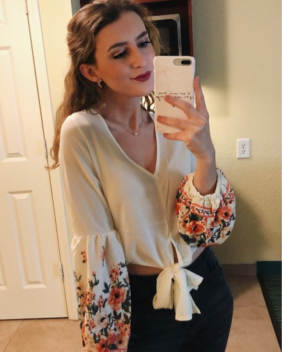 Shein floral sleeve blouse