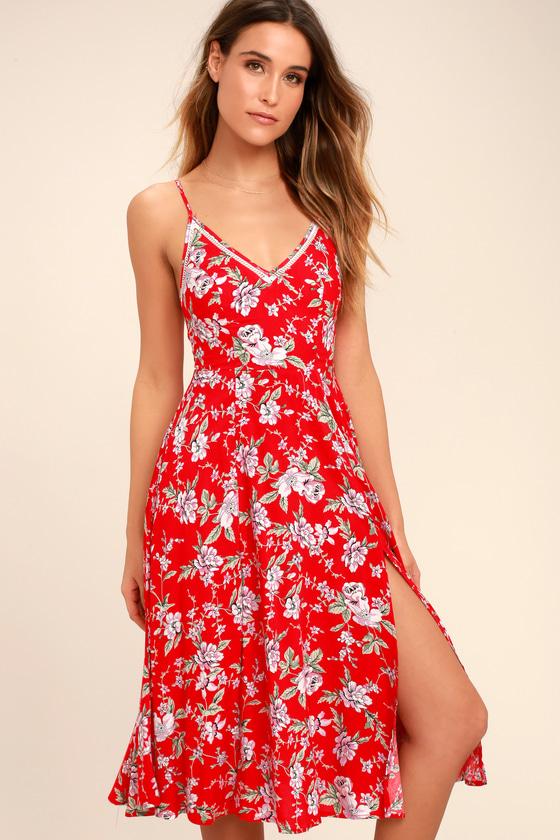 Red Floral Print Midi Dress - $56