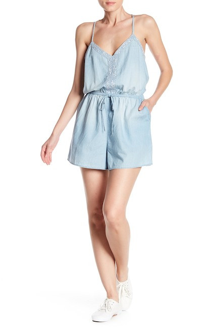 Chambray Embroidered Romper  - $36.97