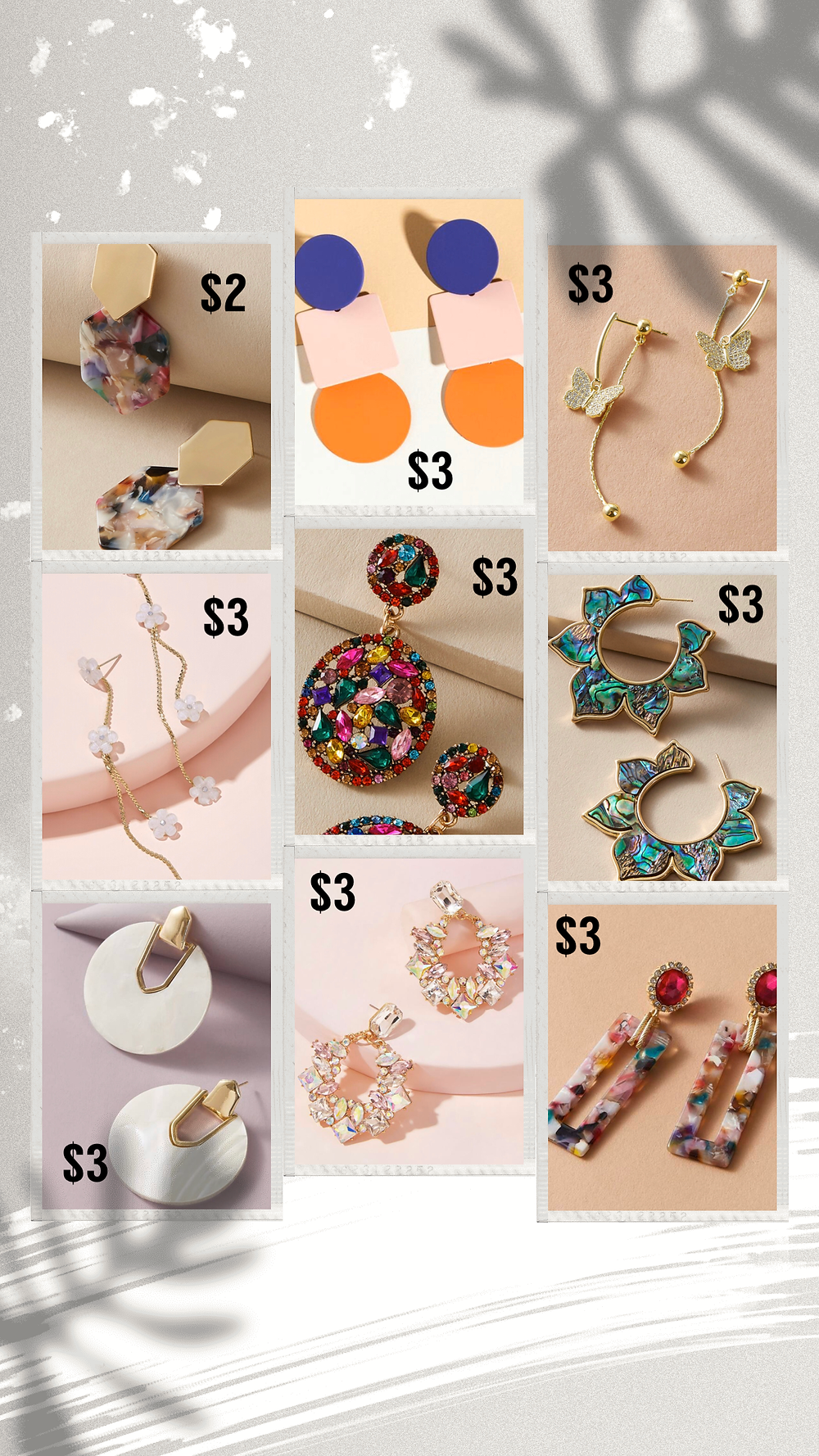 Affordable fun and colorful earrings from Shein
