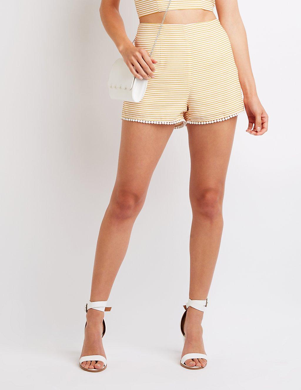 Striped Hi Waist Shorts - $19.99