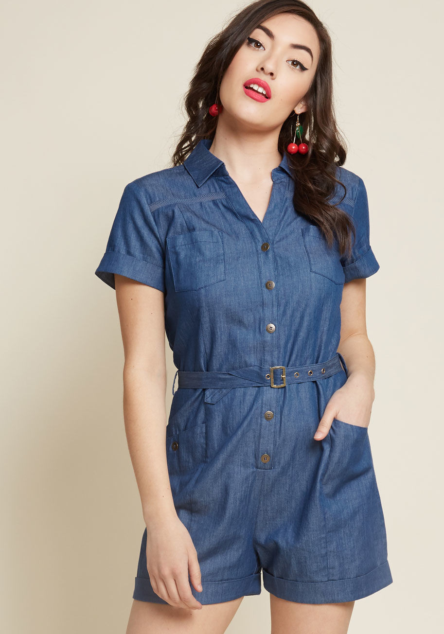 Lighthearted Cartographer Romper in Chambray - $26.97