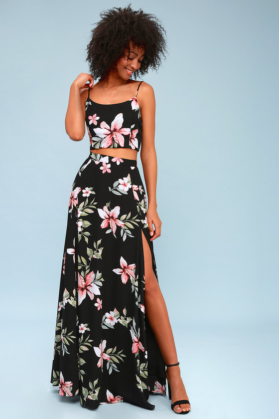 Floral Two-Piece Maxi Dress - $100