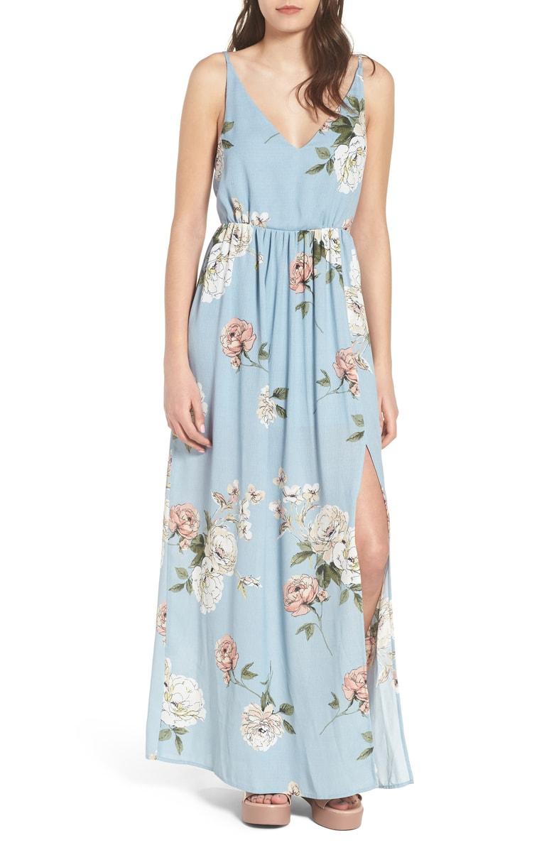 Floral Print Maxi Dress - $55