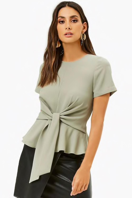 Tie-Front Shirred Hem Top