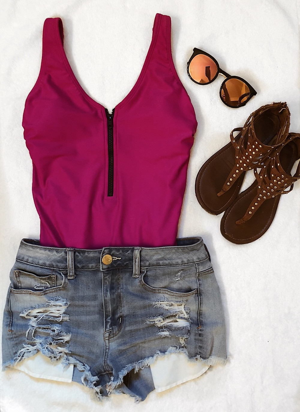Zip-up One Piece Swimsuit with Jean Shorts, Sandals and Sunglasses