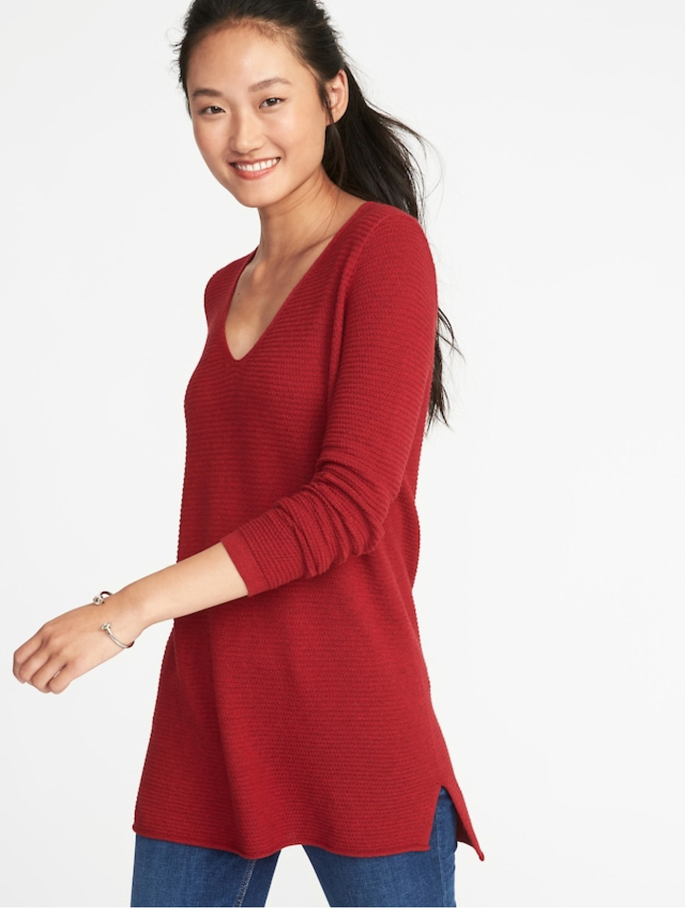 Textured V-Neck Tunic Sweater for Women