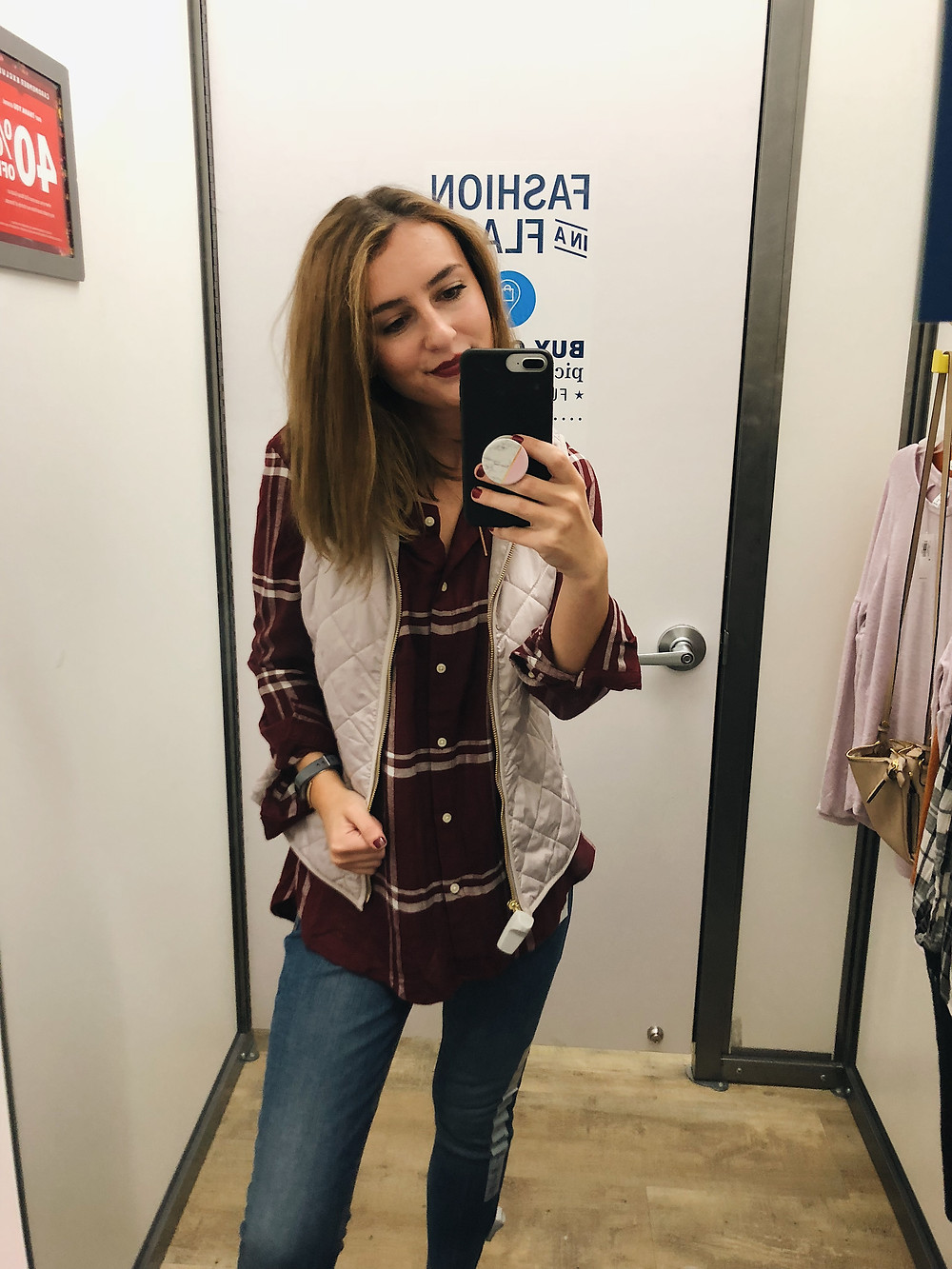 Quilted Vest with Relaxed Flannel Top - Old navy; Abby Graf; Try-On Haul