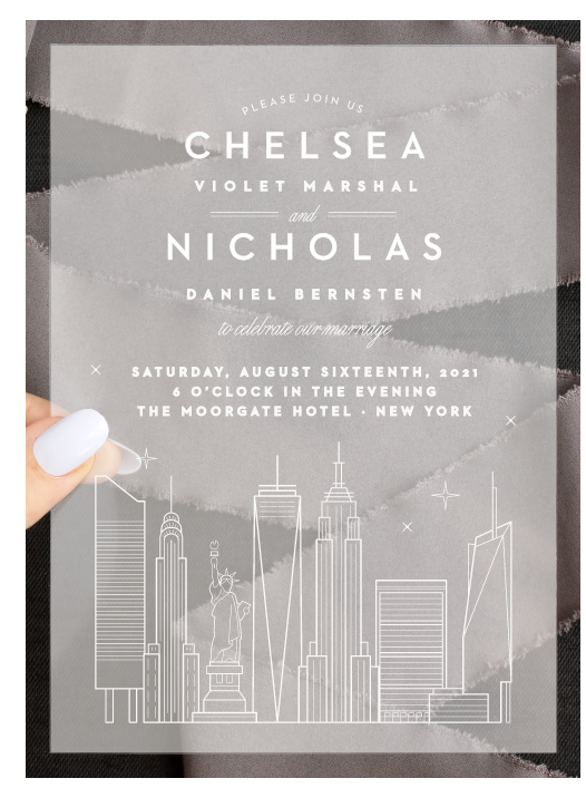 Basic Invite NYC Skyline Clear Wedding Invite