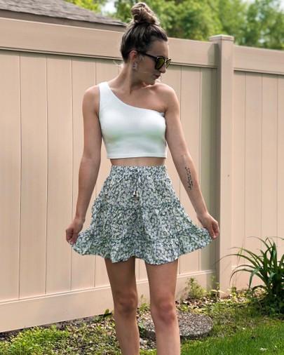 floral print tiered skirt, one-shoulder crop top