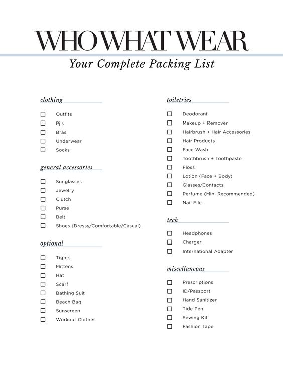 Who What Wear Packing List