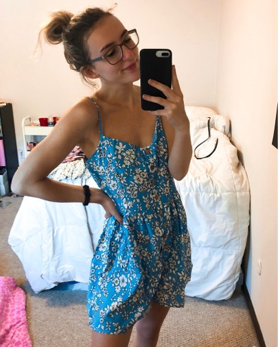 blue daisy romper, shein, the bleached curl