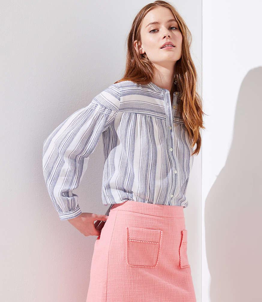 Mixed Striped Smocked Shirt